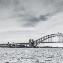 Sydney Harbour Bridge and the Opera house in Black and white