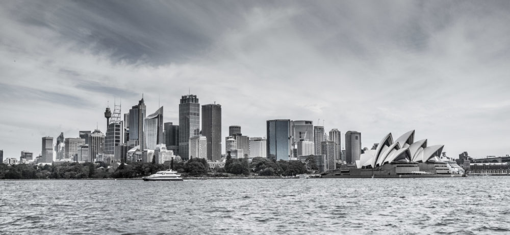 Skyline of Sydney CBD with Opera House stylized in black and white stylized in black and white