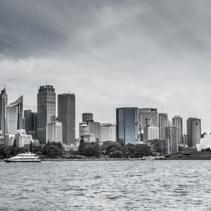 Skyline of Sydney CBD with Opera House stylized in black and white stylized in black and white