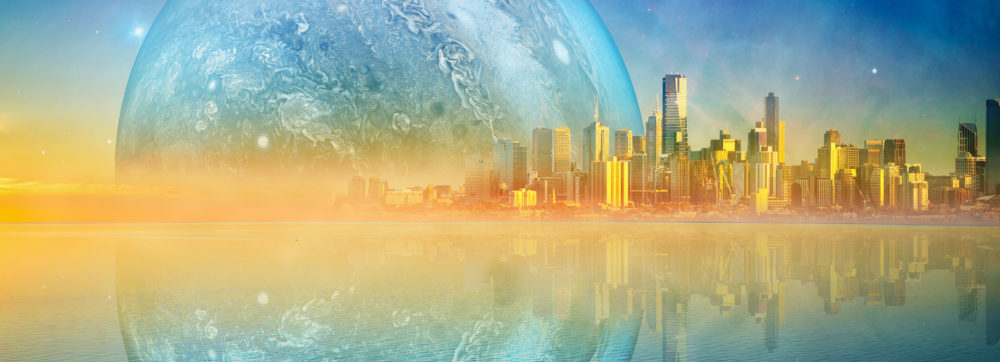 Fantasy landscape modern megapolis skyline and huge alien planet reflecting in tranquil waters at sunset. Elements of this image are furnished by NASA