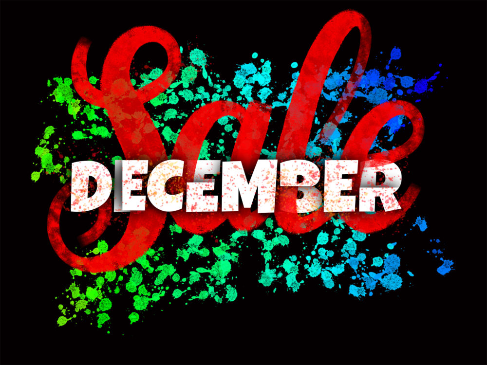 December Sale glowing sign with ink blots and brush lettering design on black background