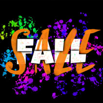 Fall Sale sign with typography, brush lettering and glowing ink blots on black background