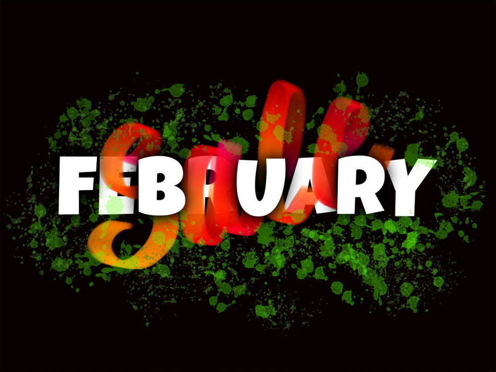 February Sale banner design with typography and glowing hand lettering