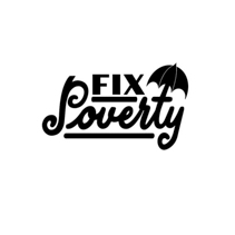 Fix Poverty lettering text composition in black isolated on white background