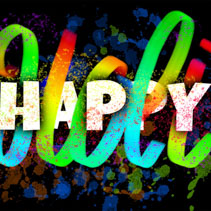 Happy Holi poster with colorful hand lettering and ink blots