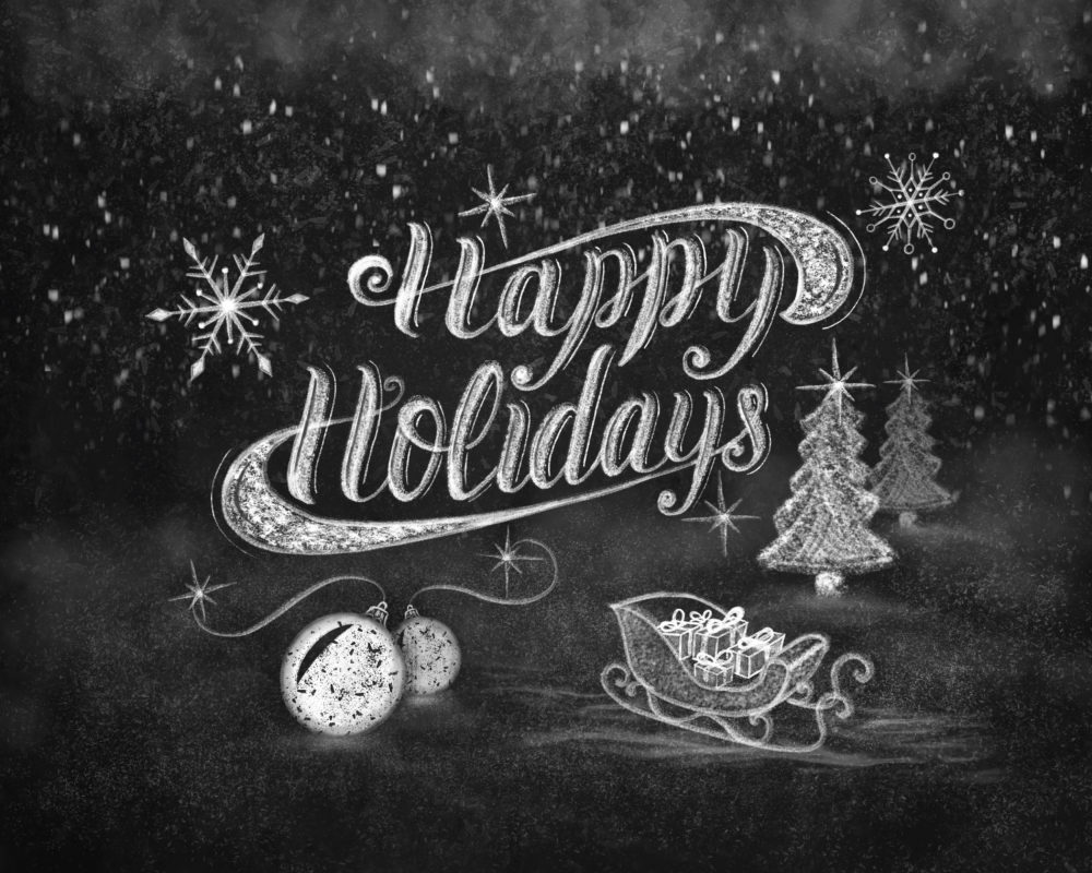 Happy Holidays chalk brush lettering greeting card. Cosy snowy scene hand drawn with chalk on blackboard