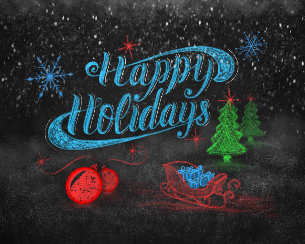 Happy Holidays colorful chalk lettering composition