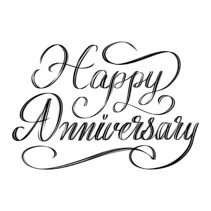 Happy Anniversary - beautiful script hand lettering composition design in black and white