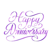 Happy Anniversary - beautiful script hand lettering composition design for postcards or greeting cards prints