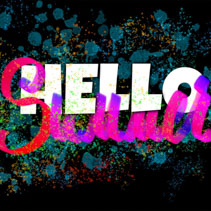 Hello Summer banner with colorful ink drops, typography and hand lettering