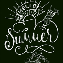 Hello Summer white chalk hand lettering design isolated on black background