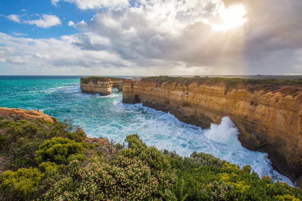The London Bridge rock formation on Great Ocean Road, Australia