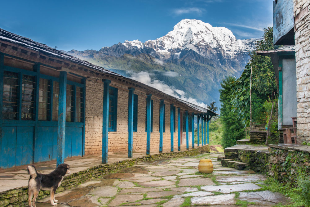 View of snowed mountain peak from a tourist lodge in Himalayas, Nepal