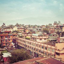 Urban landscape - rooftops of poor houses in Pokhara town, Nepal