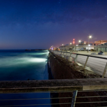 Seascape of Dusk at Tel Aviv old port boardwalk