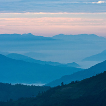 View of mountains in early morning rays of light, in Himalayas