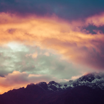 Sunset in mountains of Himalayas, Nepal.