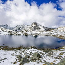 Gosaikunda - a frozen lake high up in Himalayas, in Nepal's Langtang National Park
