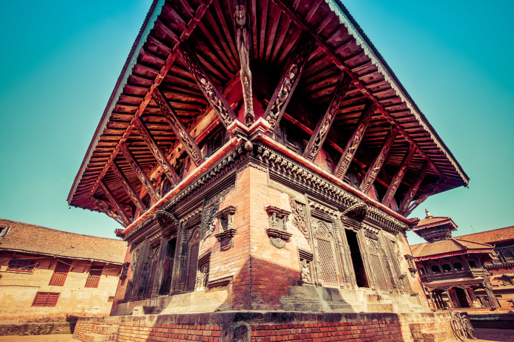Wide angle image of a temple in Bhaktapur.