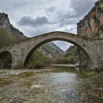 Famous old arch bridge in Zagoria, Greece