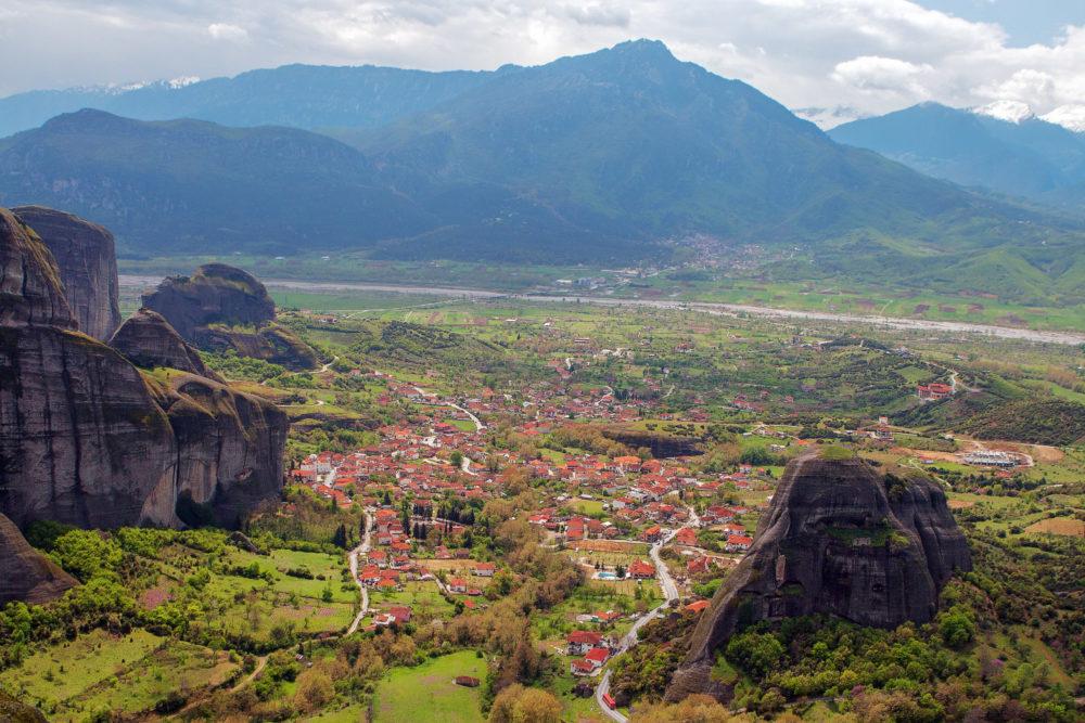 Kalambaka viewed from above Meteora Valley, Greece.