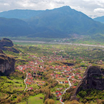Kalambaka viewed from above Meteora Valley, Greece.