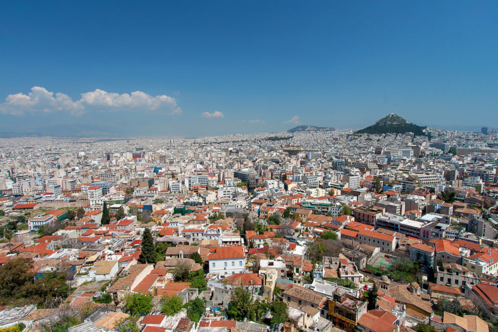 Athens and Lykavitos Hill from Acropolis, Athens, Greece