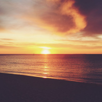 Golden vintage sunset at Frankston beach, Melbourne, Australia