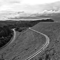 Winding road on the Cardinia Reservoir dam wall in Melbourne, Australia