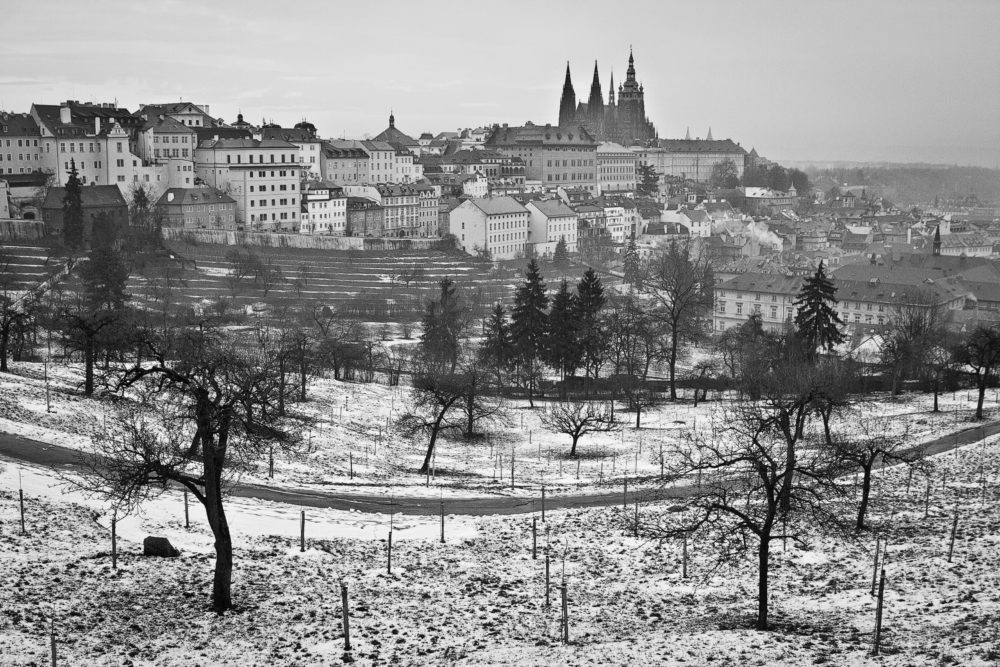 Scenic winter landscape of Prague in black and white