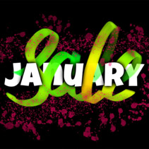 January Sale banner with glowing ink blots, typography, and hand lettering