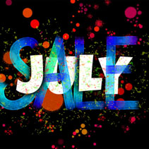 July Sale poster with colorful ink blots, typography, and hand lettering on black background