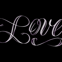 Love - elegant hand lettering in white isolated on black background