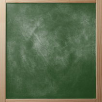 School greenboard in wooden frame.