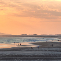 People and cars on the beach right next to the ocean at sunset. Anna Bay, New South Wales, Australia