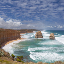 Two of the Twelve Apostles rocks on Great Ocean Road.