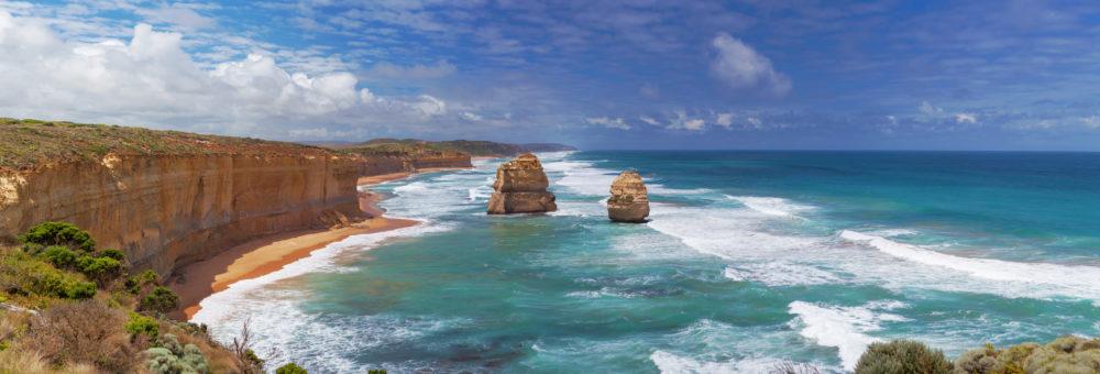 Panorama of two of the Twelve Apostles rocks.