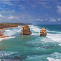 Panorama of two of the Twelve Apostles rocks.