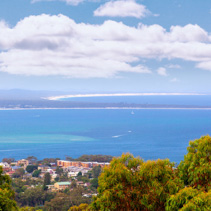 View of Nelson Bay on bright summer day from Gan Gan lookout. Nelson Bay, New South Wales, Australia