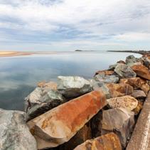 Harrington Breakwall and manning river. Harrington, NSW, Australia