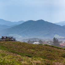 Panoramic landscape of Muttonbird island viewing platform and mountains. Coffs Harbour, New South Wales, Australia