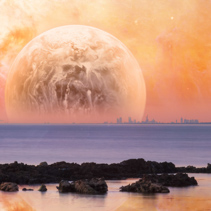 Fantasy landscape - modern city skyline across sea with rock formations on the foreground and huge alien planet in orange sky. Elements of this image are furnished by NASA