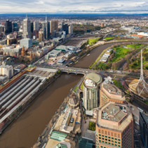 Aerial view of Flinders train station and Arts Centre in Melbour