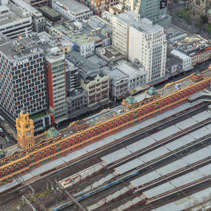 Aerial view of Flinders Street train station in Melbourne CBD