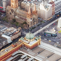 Aerial view of Flinders Street train station and St. Paul's Cath