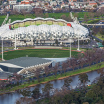 Aerial view of AAMI Park stadium and Holden Centre