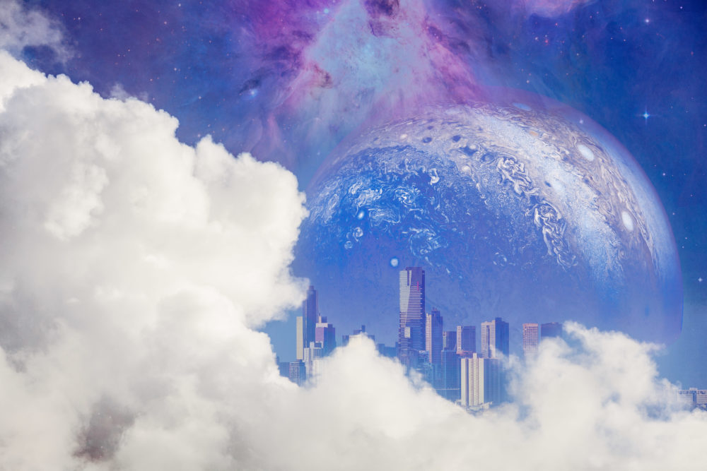 Fantasy unreal landscape - beautiful white clouds reveal modern city skyscrapers and huge alien planet with galaxy. Elements of this image are furnished by NASA