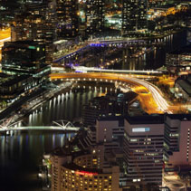 Aerial night view of Melbourne CBD and Yarra River. Melbourne, Victoria, Australia