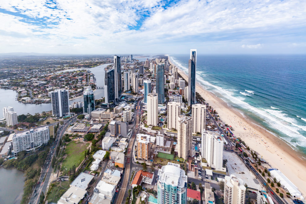 Luxury living on the Gold Coast in Queensland. Surfers Paradise high-rise skyline and ocean beach