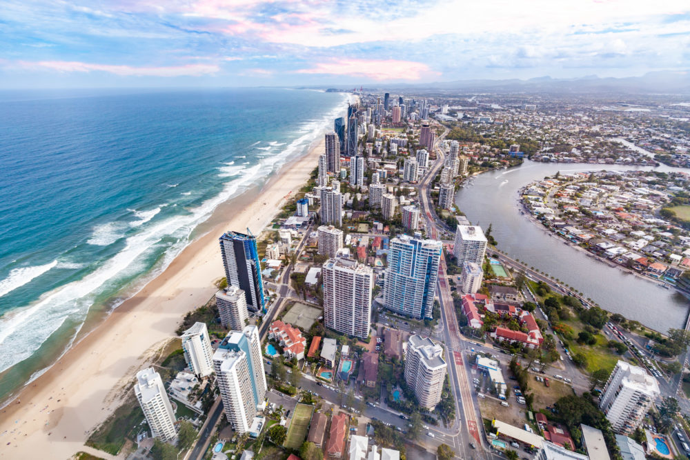 Aerial view of Gold Coast city skyline and ocean beach